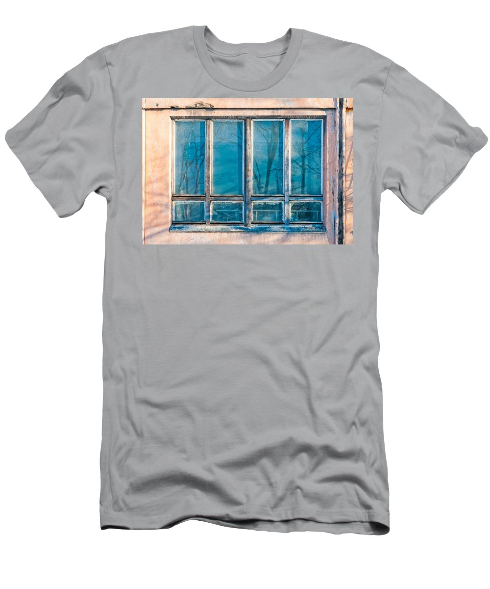 Kiev Men's T-Shirt (Athletic Fit) featuring the photograph Window Of Soviet Building by Alain De Maximy