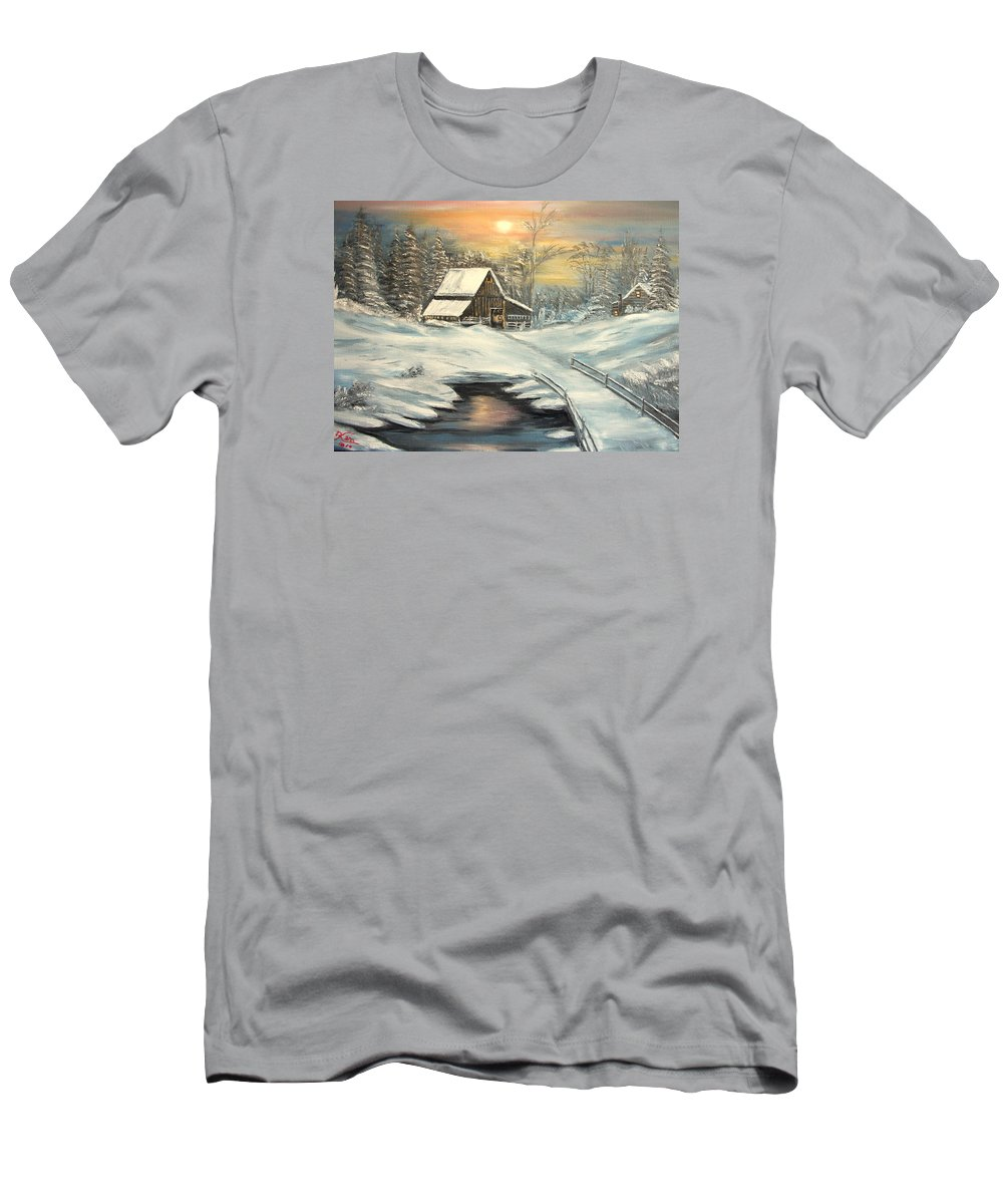 Winter T-Shirt featuring the painting Winter by Kenneth LePoidevin