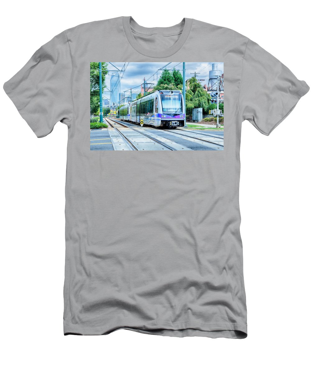 North Men's T-Shirt (Athletic Fit) featuring the photograph Charlotte North Carolina Light Rail Transportation Moving System by Alex Grichenko