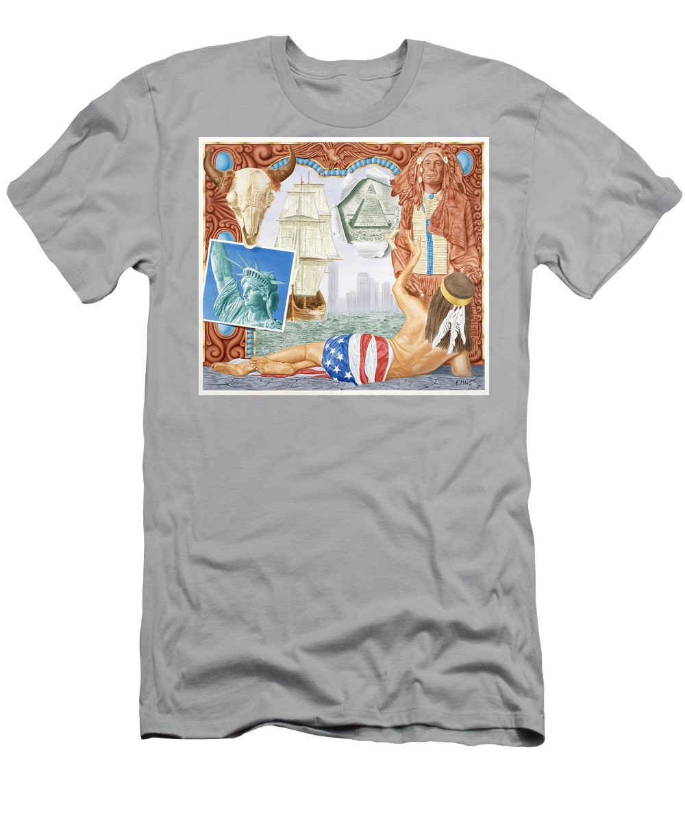 Native Americans Men's T-Shirt (Athletic Fit) featuring the painting Destruction Of Native America by Rich Milo