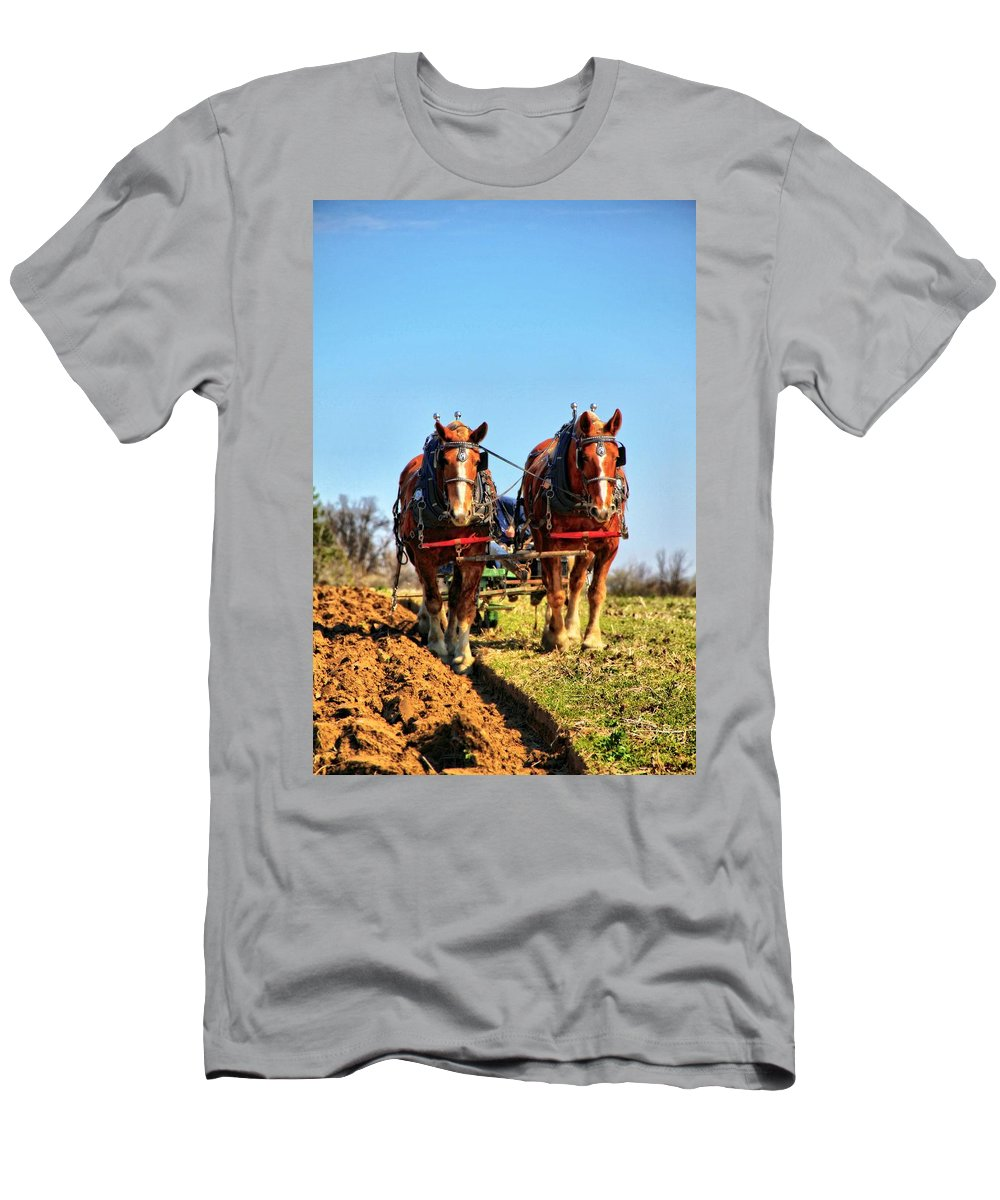 Vintage Horse Plow Men's T-Shirt (Athletic Fit) featuring the photograph Down On The Farm by Dan Sproul