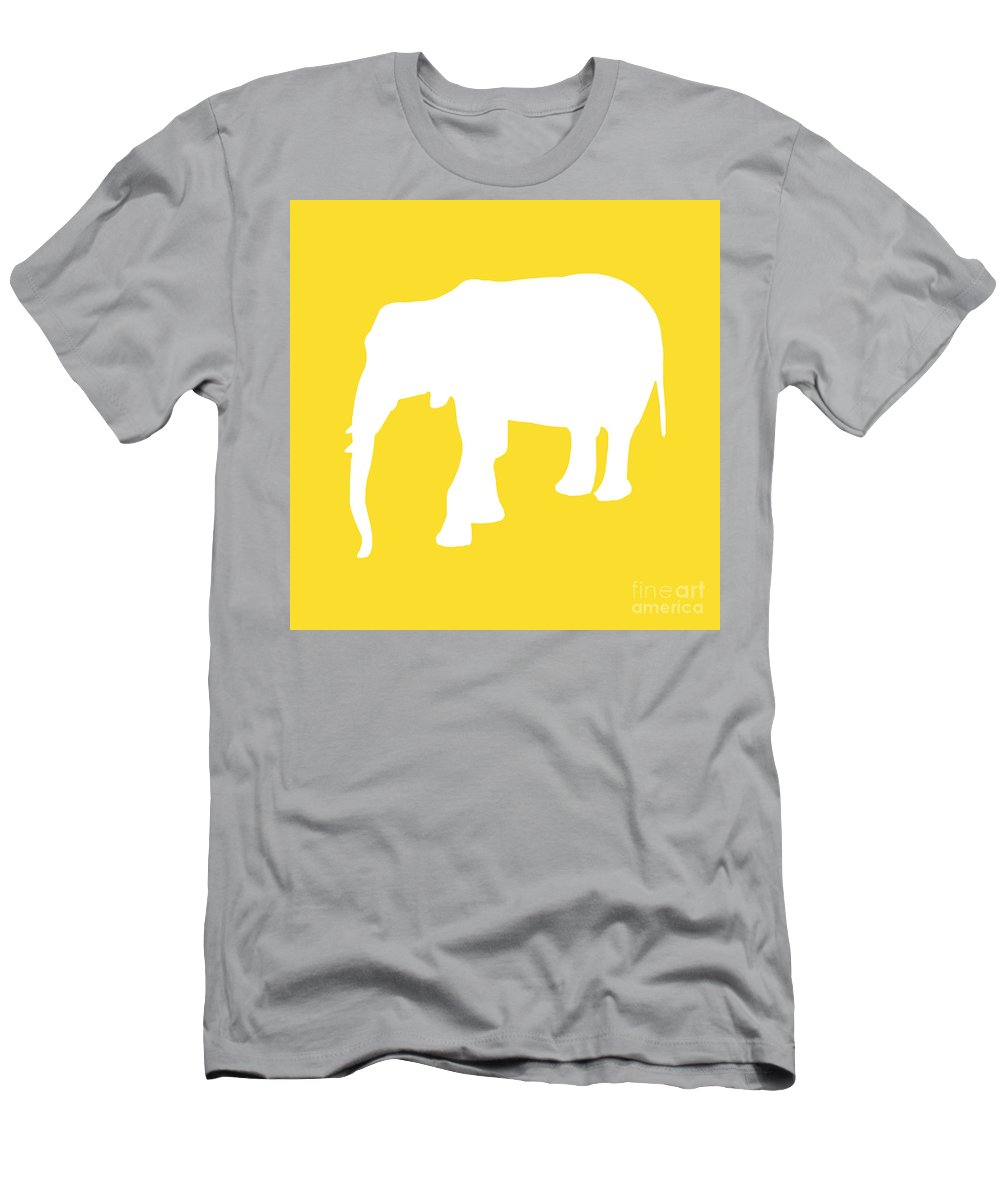 Graphic Art Men's T-Shirt (Athletic Fit) featuring the digital art Elephant In Golden And White by Jackie Farnsworth