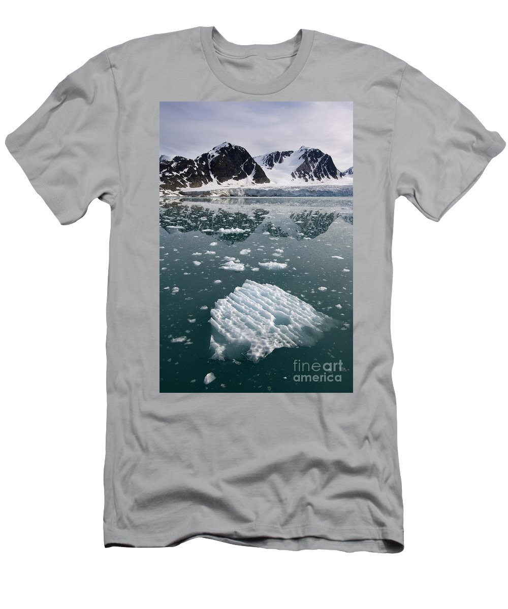 Iceberg Men's T-Shirt (Athletic Fit) featuring the photograph Icebergs Near The Monaco Glacier by John Shaw