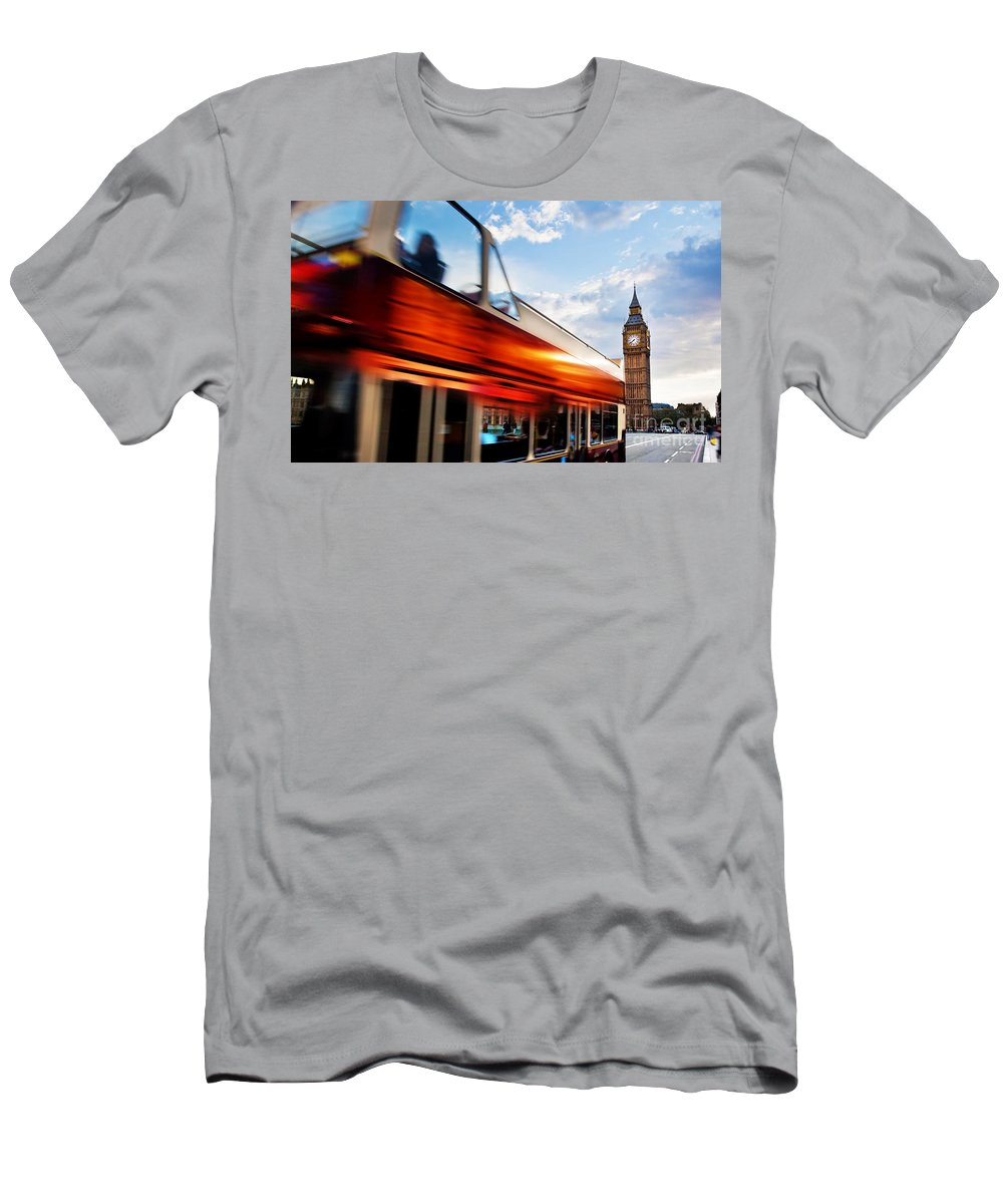 London Men's T-Shirt (Athletic Fit) featuring the photograph London Uk Red Bus In Motion And Big Ben by Michal Bednarek
