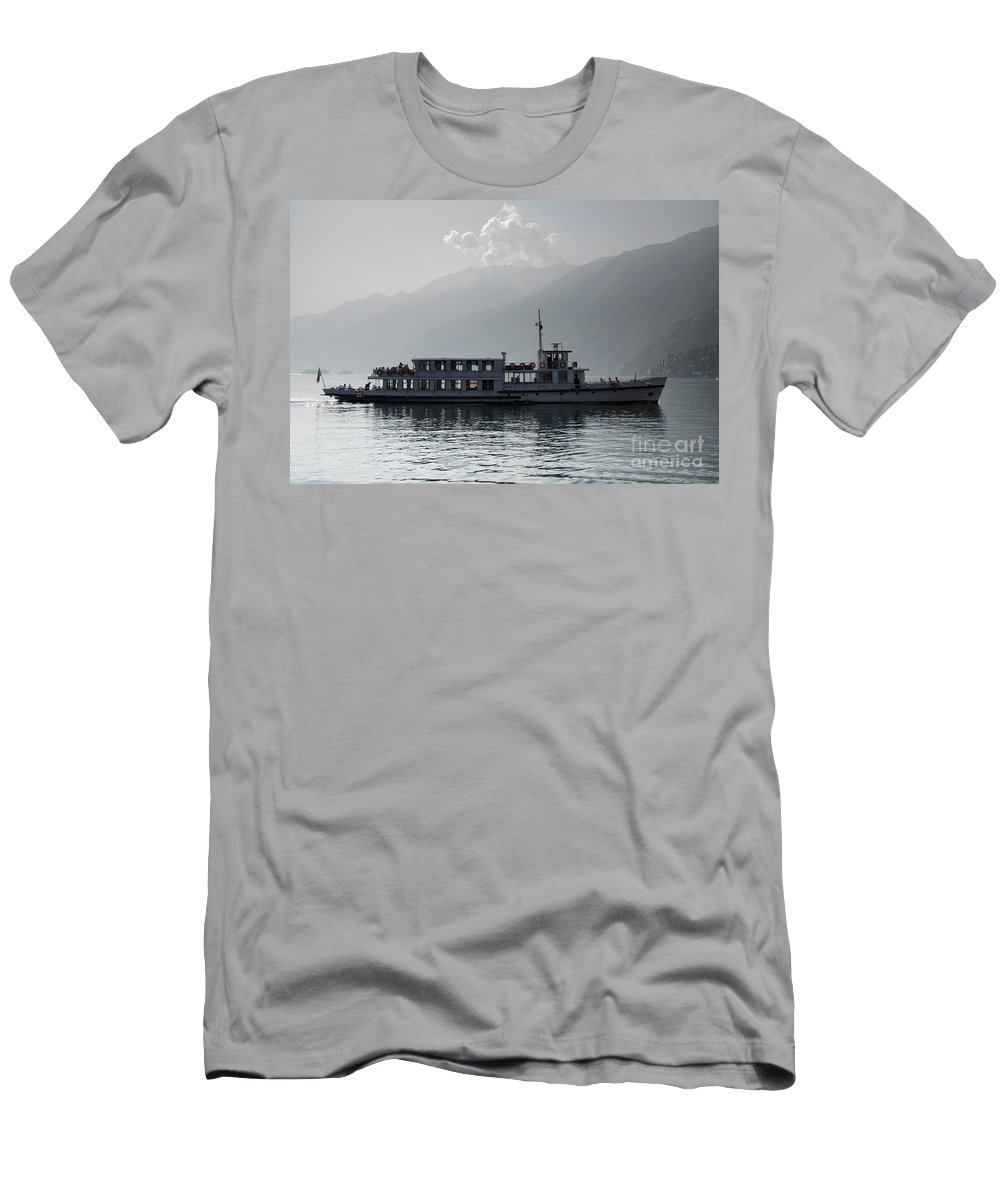 Seascape Men's T-Shirt (Athletic Fit) featuring the photograph Passenger Ship On An Alpine Lake by Mats Silvan