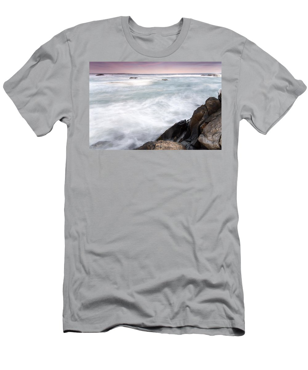 Feb0514 Men's T-Shirt (Athletic Fit) featuring the photograph Rocky Coast Kejimkujik Np Nova Scotia by Scott Leslie