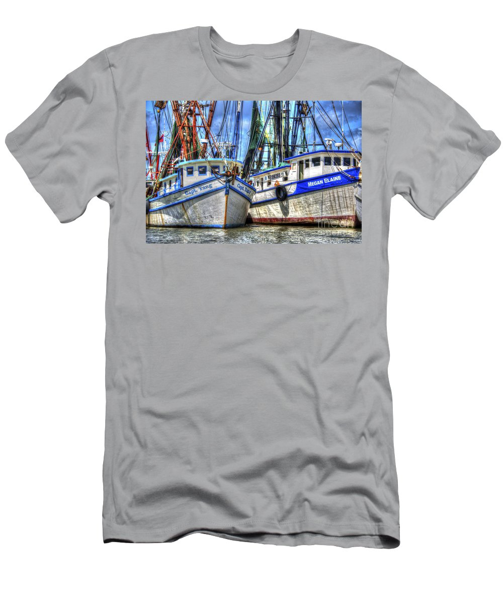 Shrimp Boats Men's T-Shirt (Athletic Fit) featuring the photograph Shrimp Boats Season by Dale Powell