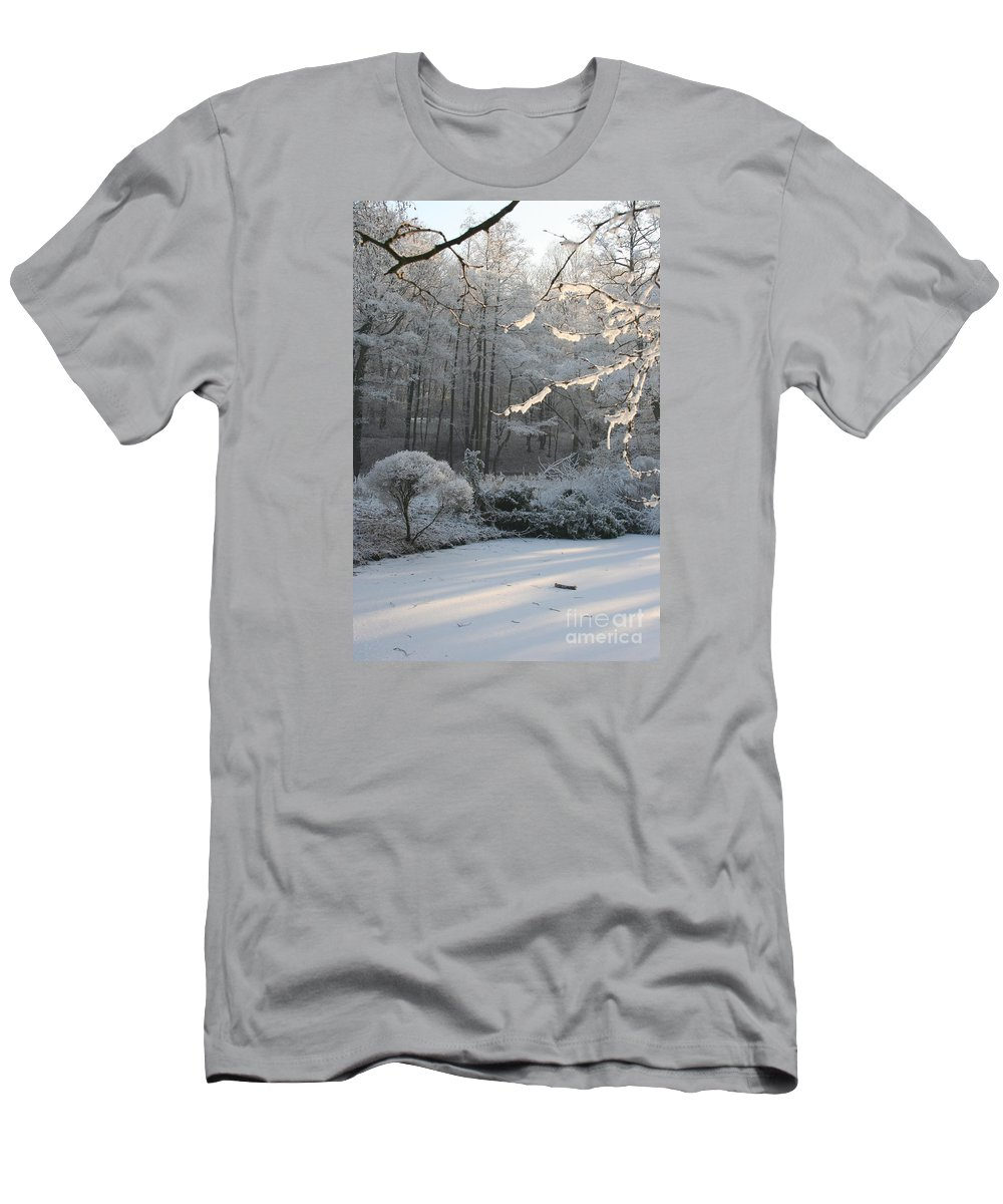 Snow Men's T-Shirt (Athletic Fit) featuring the photograph Snowy Trees Landscape by Christiane Schulze Art And Photography