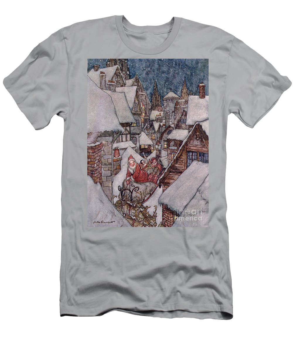 Christmas Illustrations Men's T-Shirt (Athletic Fit) featuring the drawing 'the Night Before Christmas by Arthur Rackham