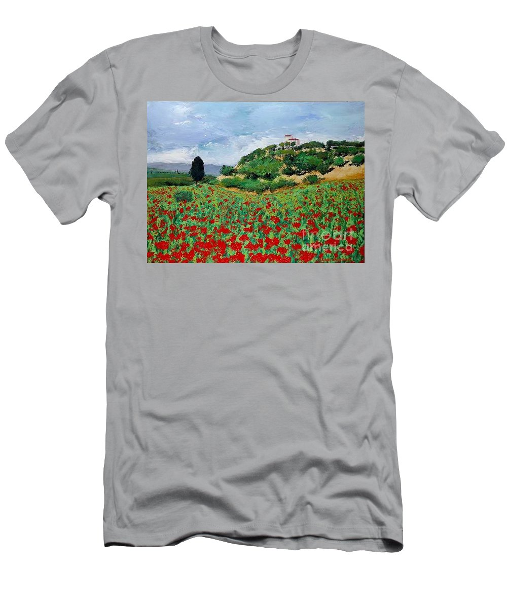 Landscape Men's T-Shirt (Athletic Fit) featuring the painting Tuscan Poppies by Allan P Friedlander