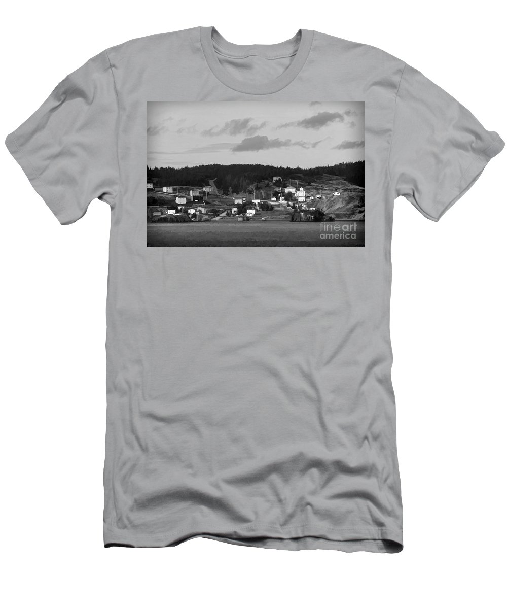 Village Men's T-Shirt (Athletic Fit) featuring the photograph Village In Newfoundland by Les Palenik