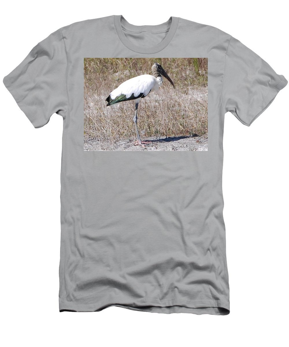Standing Alone Men's T-Shirt (Athletic Fit) featuring the photograph Wood Stork by Robert Floyd