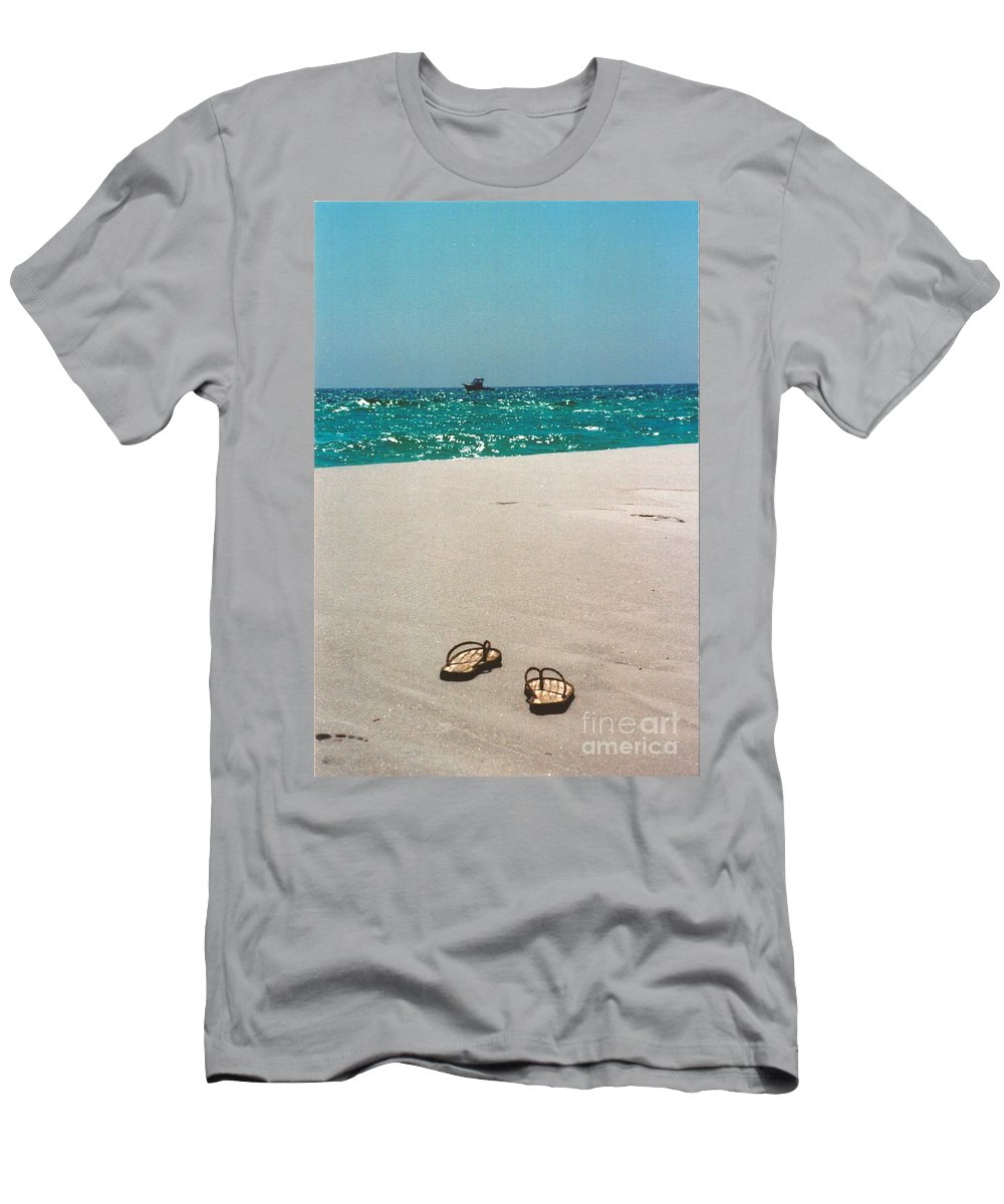 #384 33a Sandals On The Beach Film Jpg Men's T-Shirt (Athletic Fit) featuring the photograph #384 33a Sandals On The Beach - Destin Florida by Robin Lee Mccarthy Photography