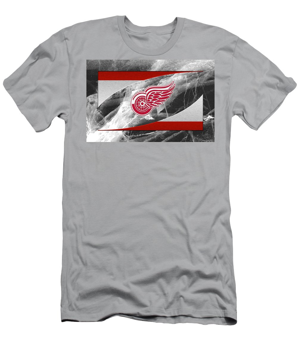 Red Wings Men's T-Shirt (Athletic Fit) featuring the photograph Detroit Red Wings by Joe Hamilton