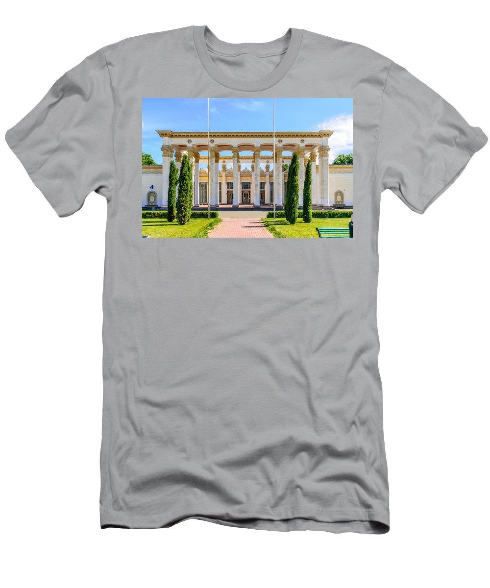 Kiev Men's T-Shirt (Athletic Fit) featuring the photograph Pavilion In Kiev's National Complex by Alain De Maximy