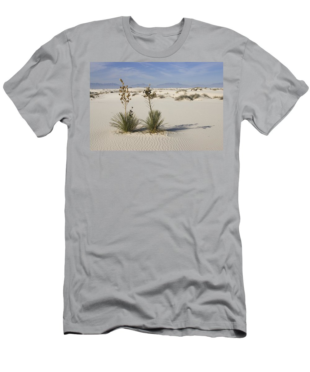 Feb0514 Men's T-Shirt (Athletic Fit) featuring the photograph Soaptree Yucca In Gypsum Sand White by Konrad Wothe
