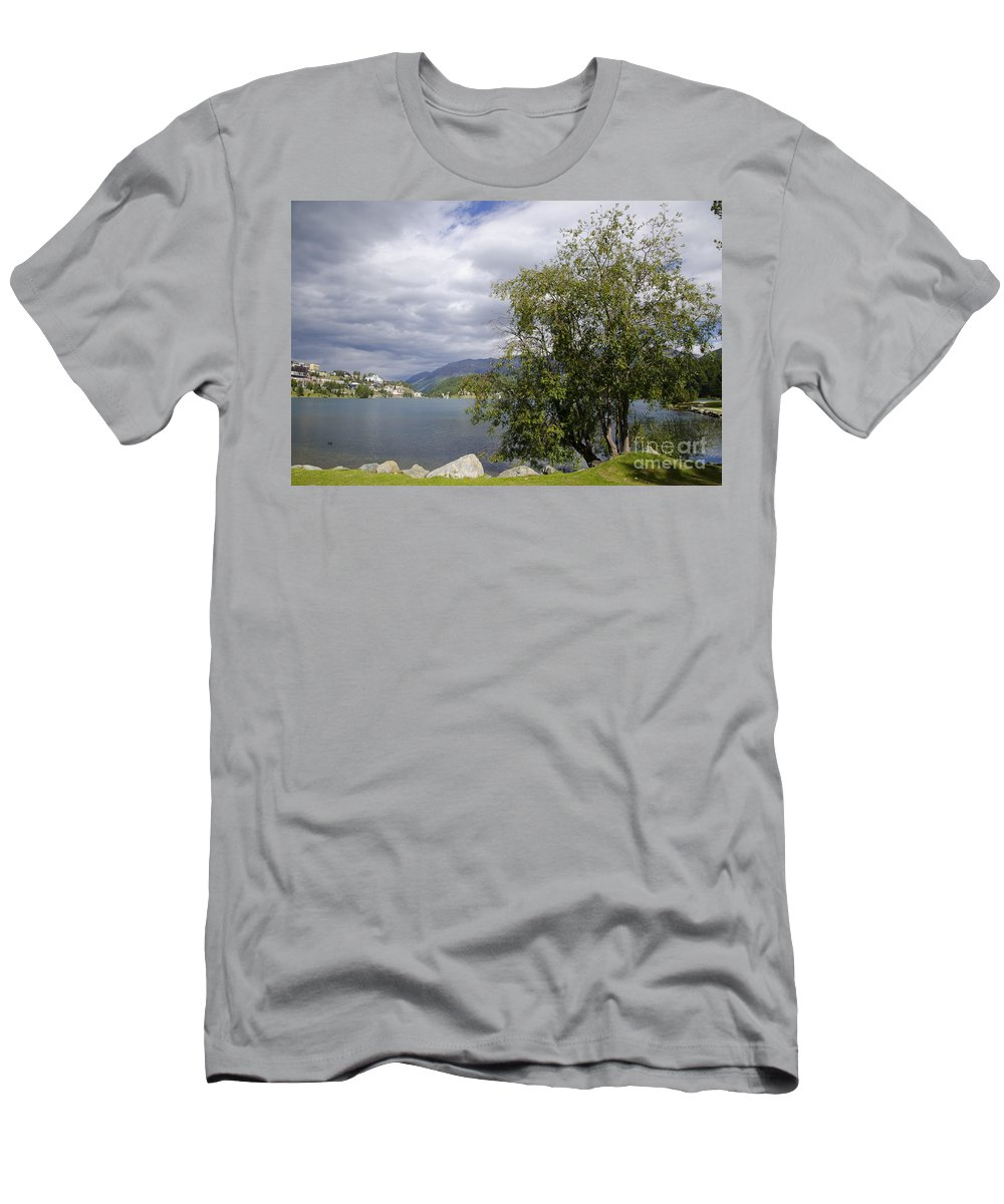 St Moritz Men's T-Shirt (Athletic Fit) featuring the photograph St Moritz Lake by Mats Silvan