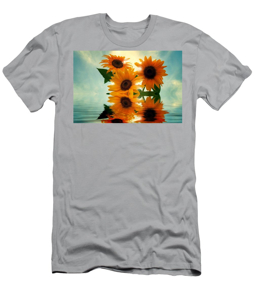 Sommer Men's T-Shirt (Athletic Fit) featuring the pyrography Sunflowers by Steffen Gierok