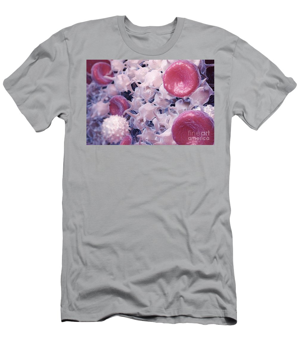 3d Visualisation Men's T-Shirt (Athletic Fit) featuring the photograph Blood Cells by Science Picture Co