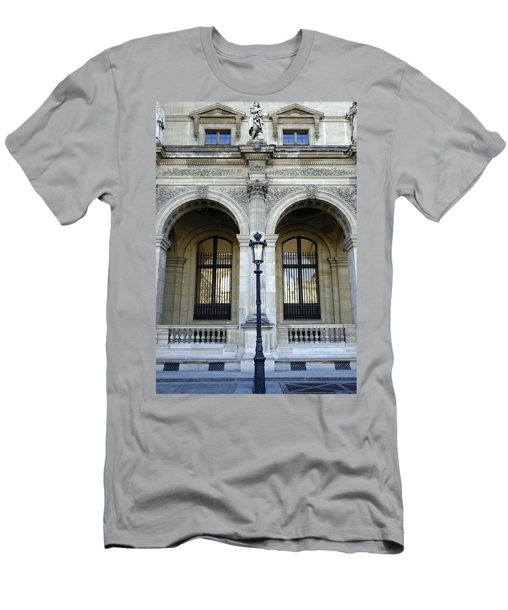 Paris Men's T-Shirt (Athletic Fit) featuring the photograph Ornate Architectural Artwork On The Buildings Of The Musee Du Louvre In Paris France by Richard Rosenshein