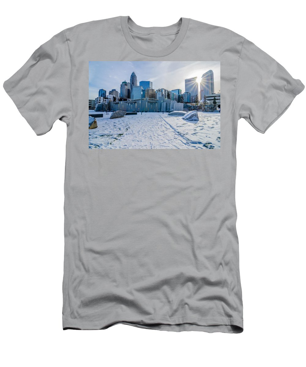 Rare Men's T-Shirt (Athletic Fit) featuring the photograph Rare Winter Scenery Around Charlotte North Carolina by Alex Grichenko