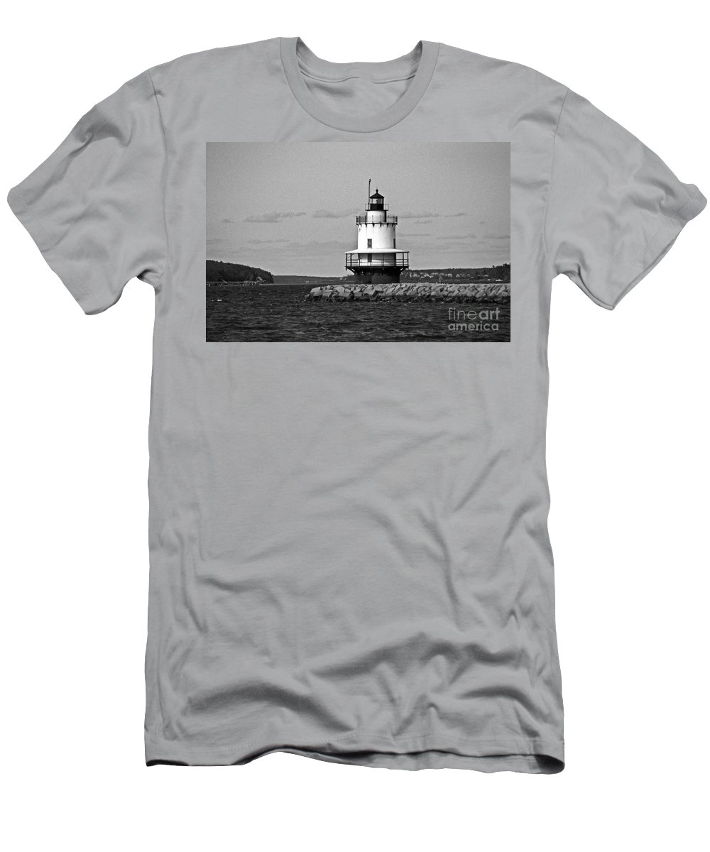 Lighthouses Men's T-Shirt (Athletic Fit) featuring the photograph Spring Point Ledge Lighthouse by Skip Willits