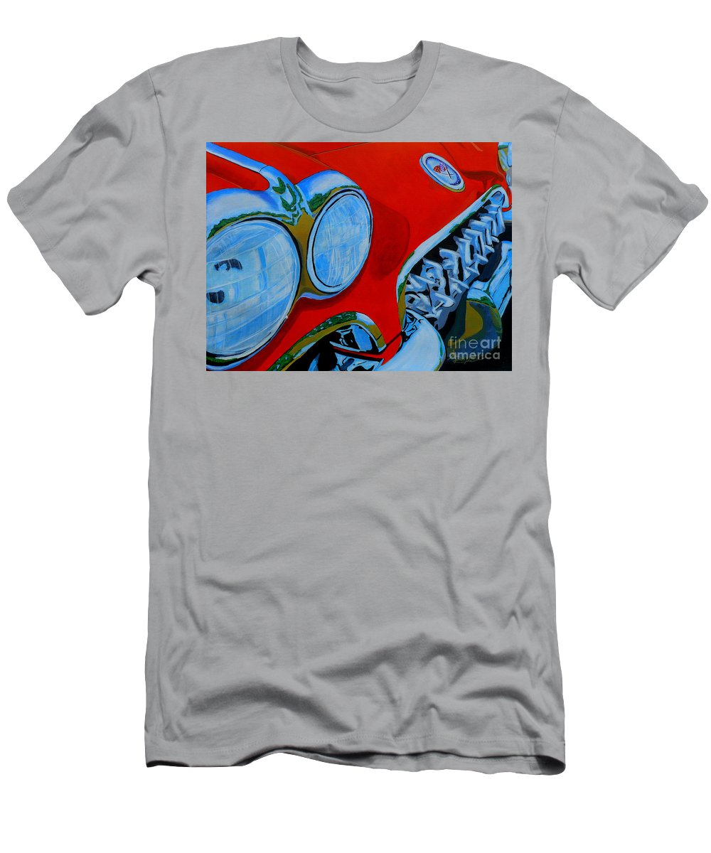 Corvette Men's T-Shirt (Athletic Fit) featuring the painting 58 Vette by Anthony Dunphy