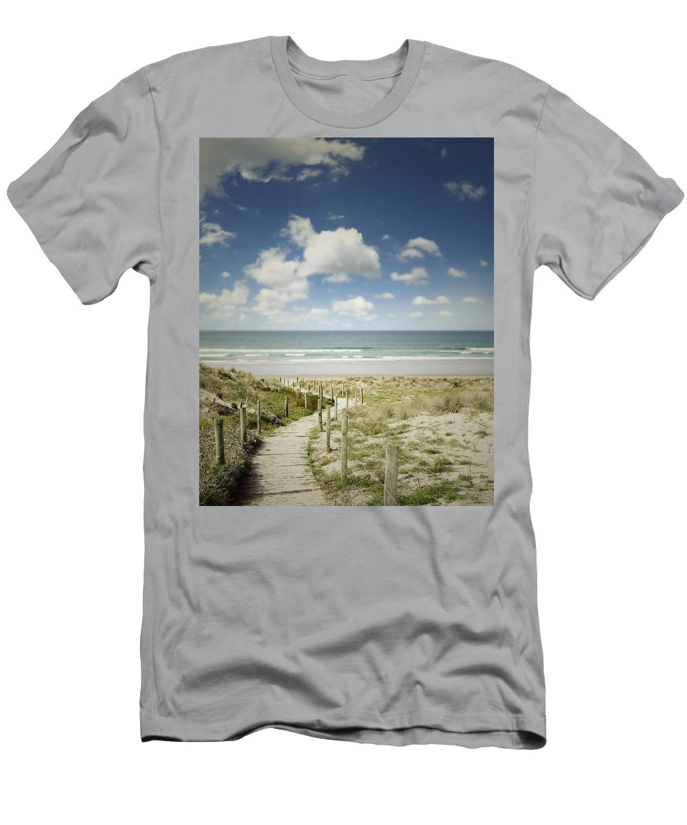 Beach Men's T-Shirt (Athletic Fit) featuring the photograph Beach View by Les Cunliffe