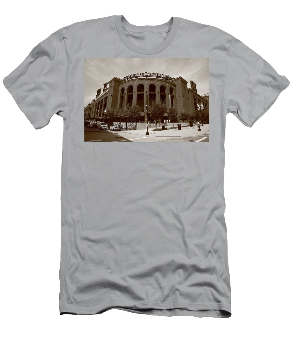 America Men's T-Shirt (Athletic Fit) featuring the photograph Busch Stadium - St. Louis Cardinals by Frank Romeo