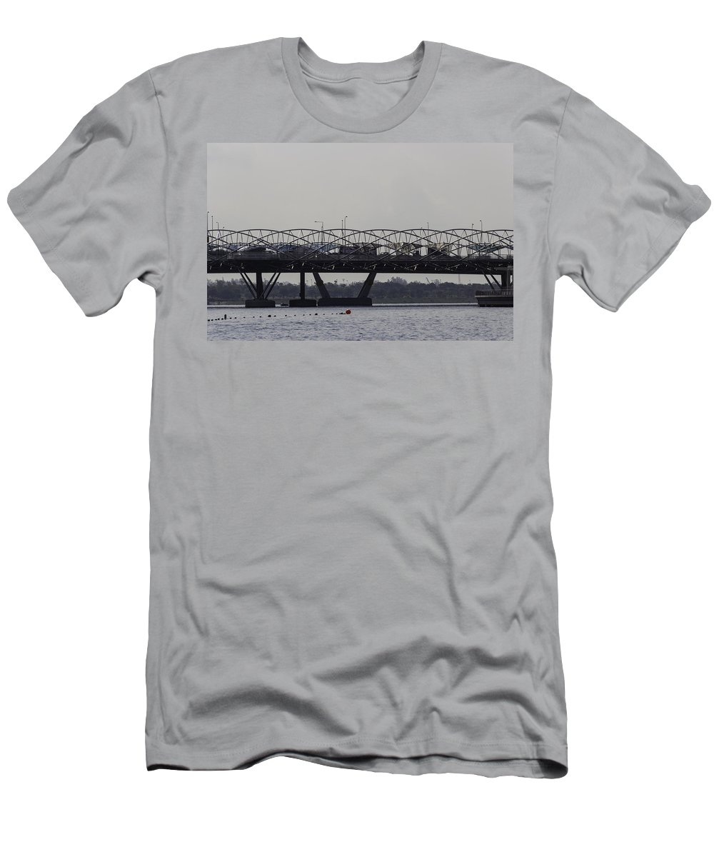 Asia Men's T-Shirt (Athletic Fit) featuring the photograph Helix Bridge And Road Bridge Next To Each Other In Singapore by Ashish Agarwal