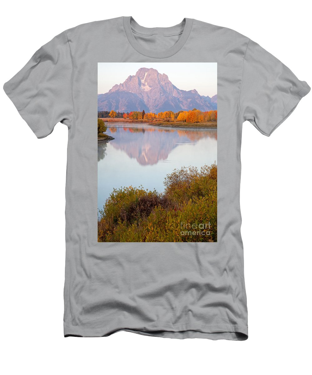 Autumn Men's T-Shirt (Athletic Fit) featuring the photograph Oxbow Bend Grand Teton National Park by Fred Stearns