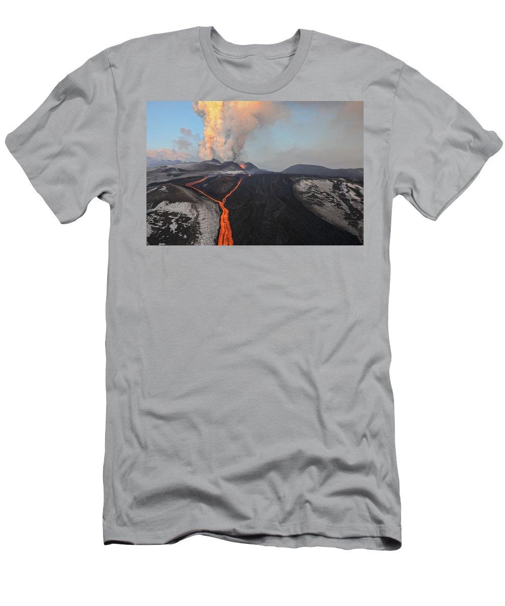 Feb0514 T-Shirt featuring the photograph Tolbachik Volcano Erupting Kamchatka by Sergey Gorshkov