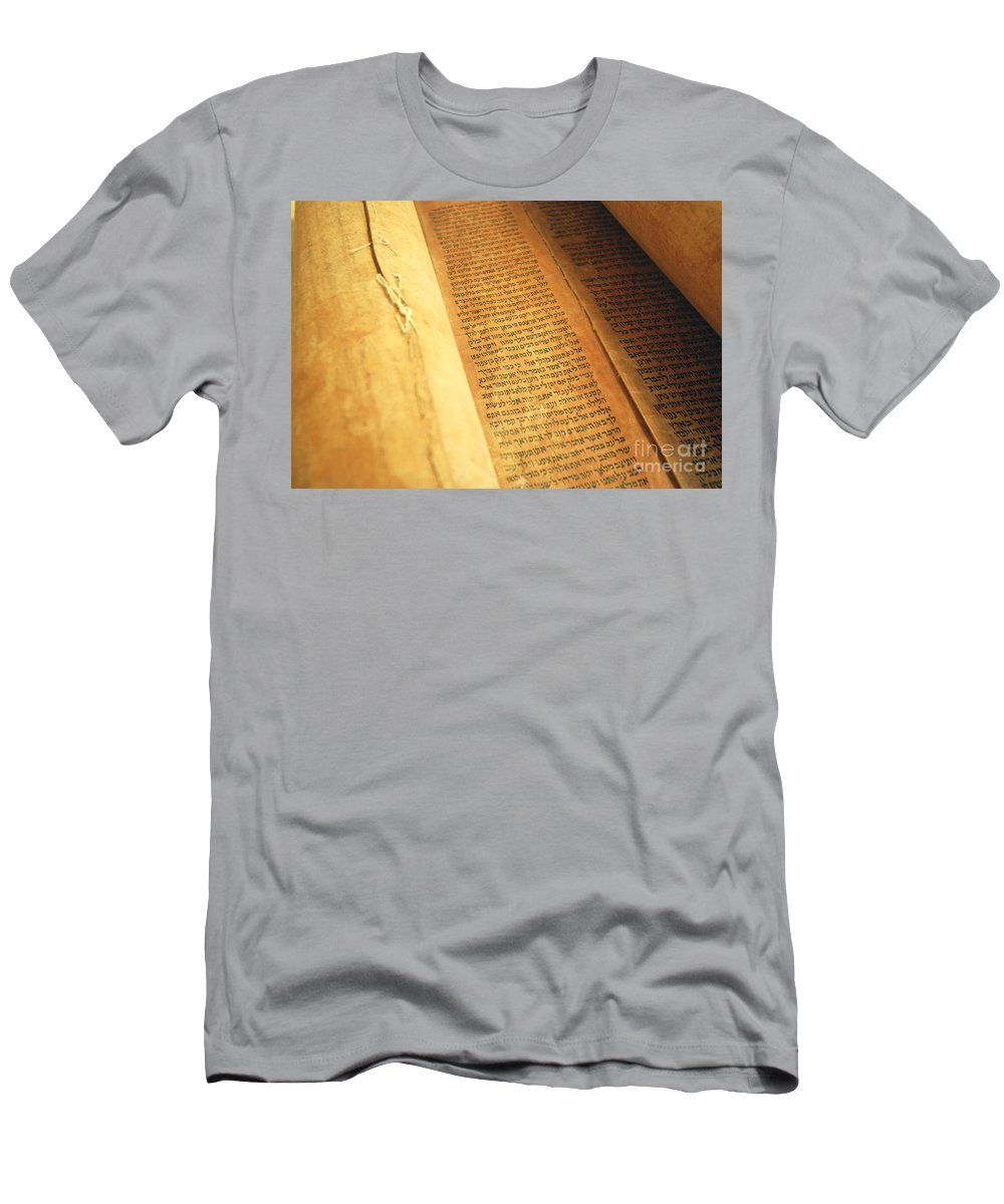 Judaism Men's T-Shirt (Athletic Fit) featuring the photograph Ancient Torah Scrolls From Yemen by Shay Fogelman