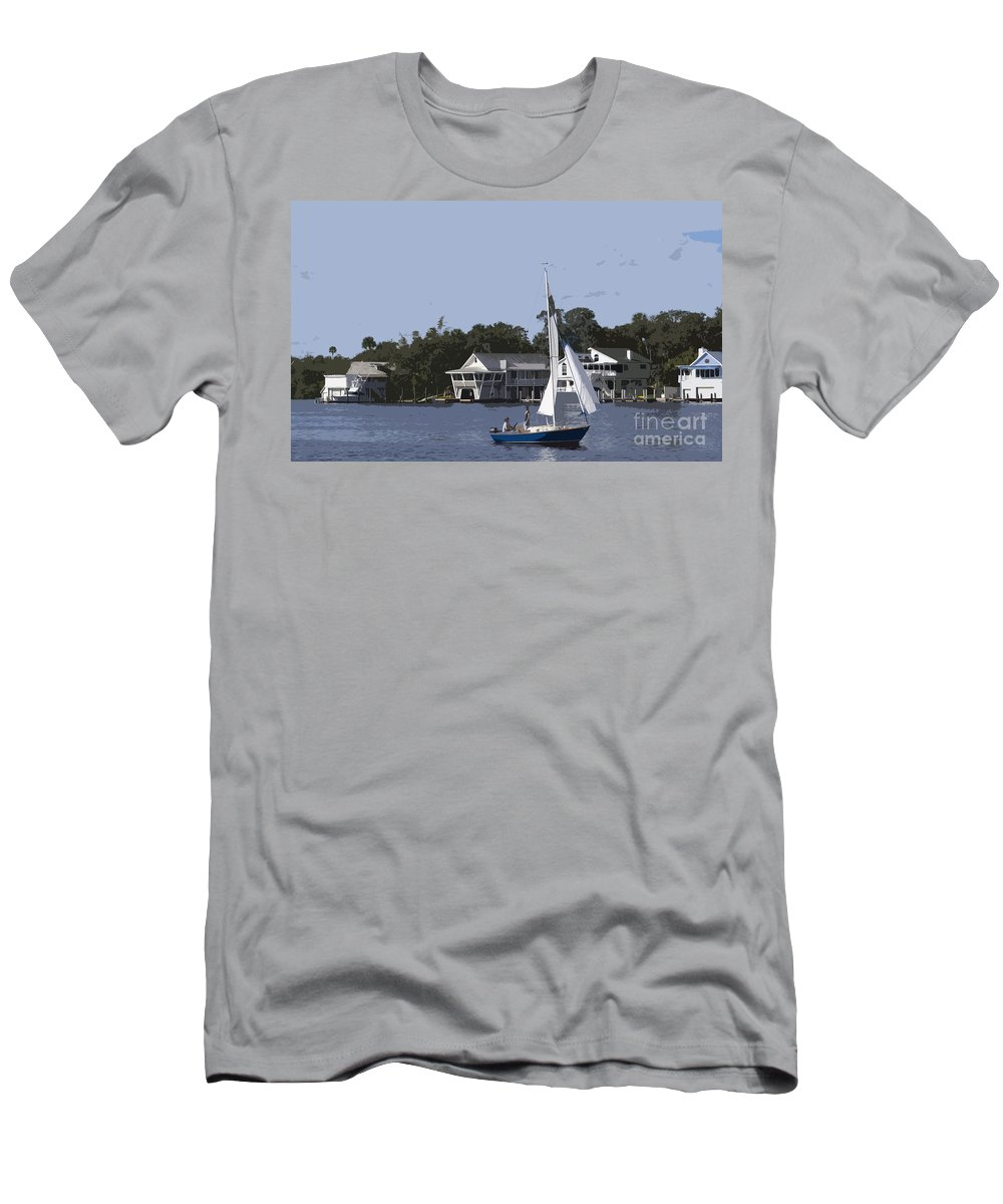 Sailing Men's T-Shirt (Athletic Fit) featuring the painting Sailing At Ballard Park On The Eau Gallie River In Melbourne Flo by Allan Hughes