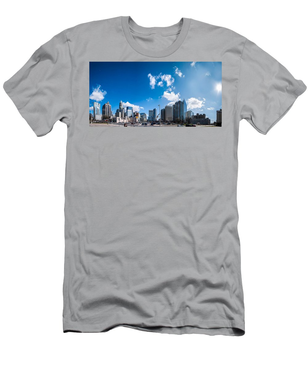 District Men's T-Shirt (Athletic Fit) featuring the photograph Skyline Of Uptown Charlotte North Carolina by Alex Grichenko