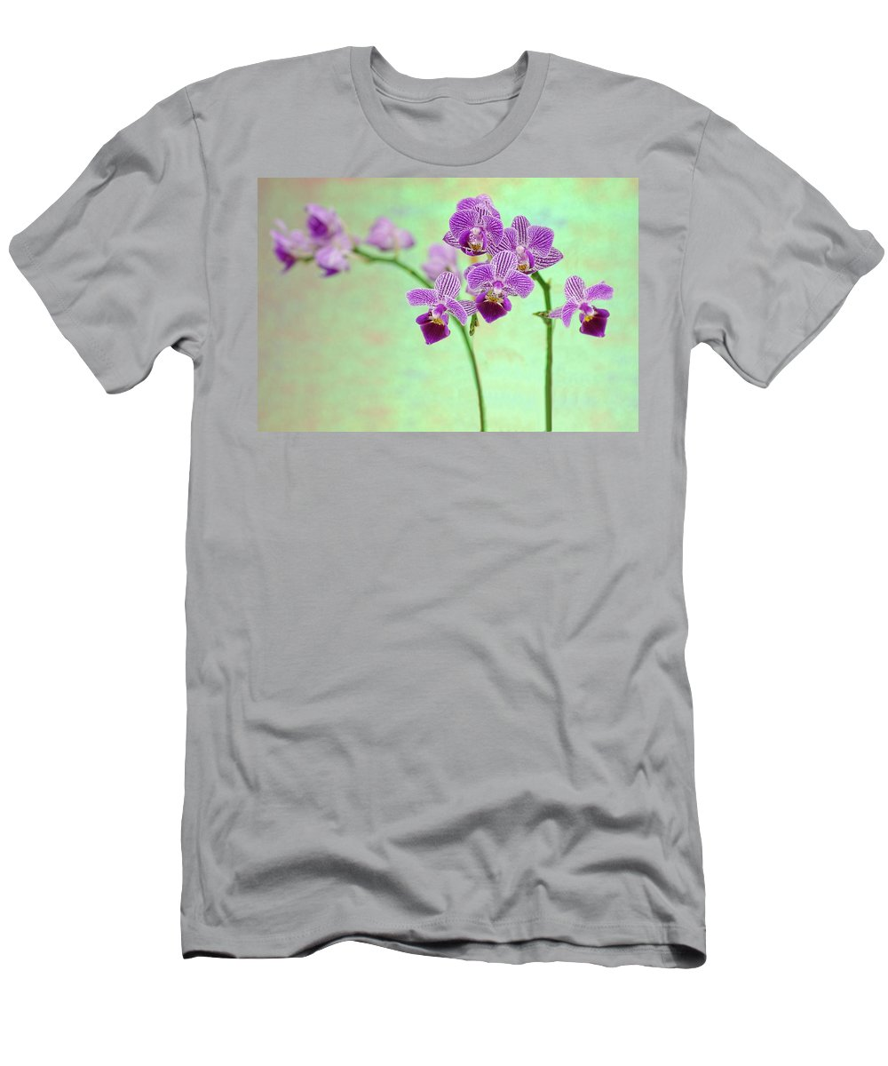 Orchid Men's T-Shirt (Athletic Fit) featuring the photograph Purple Orchid-11 by Rudy Umans