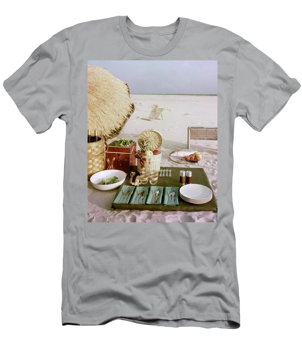 Leacock T-Shirt featuring the photograph A Beach Picnic by Wiliam Grigsby