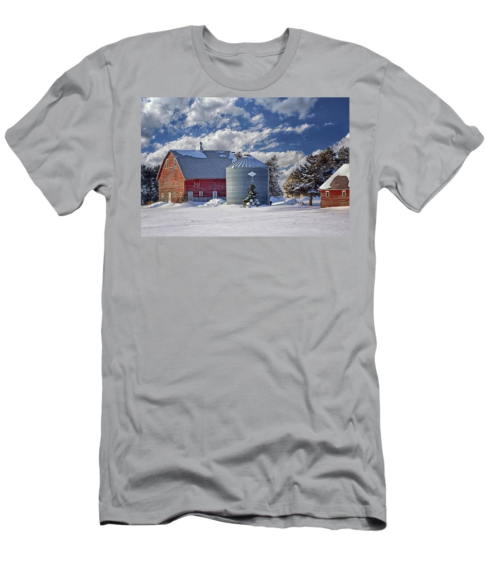 Red Barns Men's T-Shirt (Athletic Fit) featuring the photograph A Beautiful Winter Day by Nikolyn McDonald