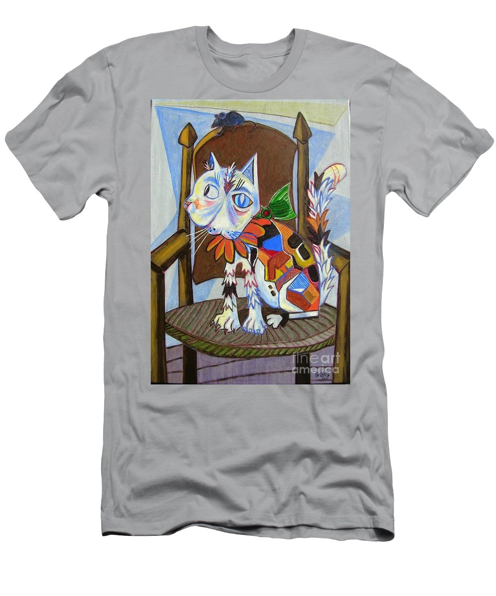 Cats Men's T-Shirt (Athletic Fit) featuring the painting A Cat For Picasso_ Chat Et Souris by George I Perez