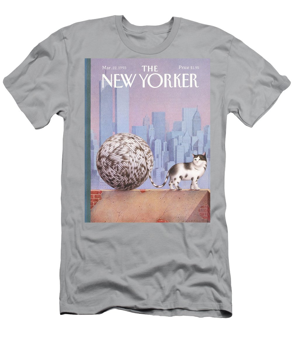 Cat T-Shirt featuring the painting New Yorker March 22, 1993 by Gurbuz Dogan Eksioglu
