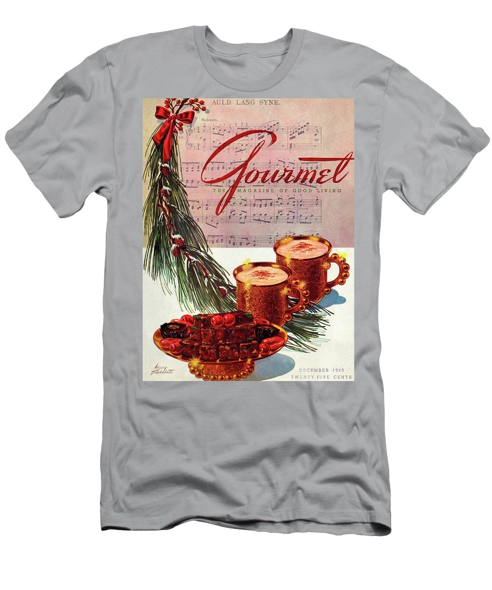 Illustration T-Shirt featuring the painting A Christmas Gourmet Cover by Henry Stahlhut