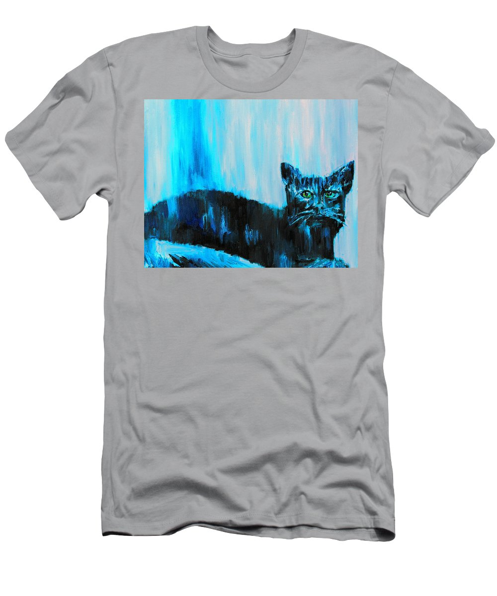 Cat Men's T-Shirt (Athletic Fit) featuring the painting A Dark Ambiguous Presence Questioned All by Fabrizio Cassetta