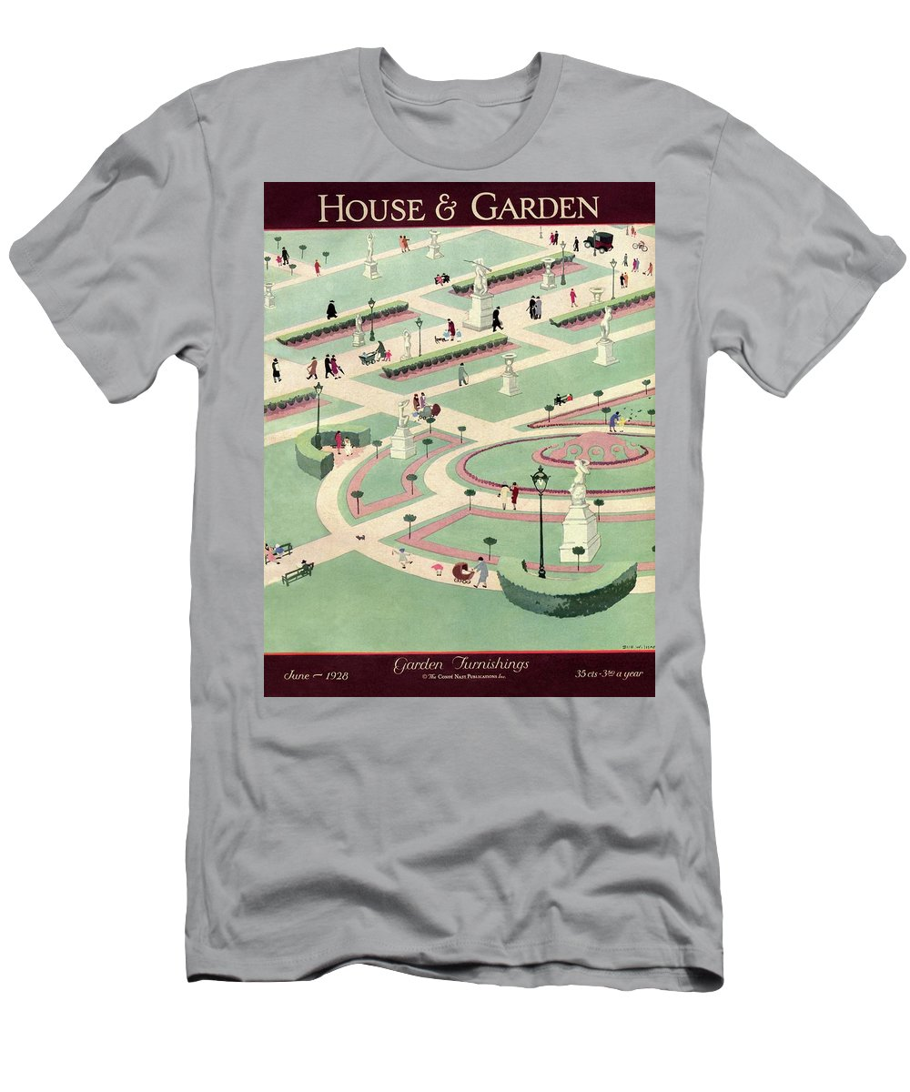 House And Garden Men's T-Shirt (Athletic Fit) featuring the photograph A Formally Designed Park by Marion Wildman