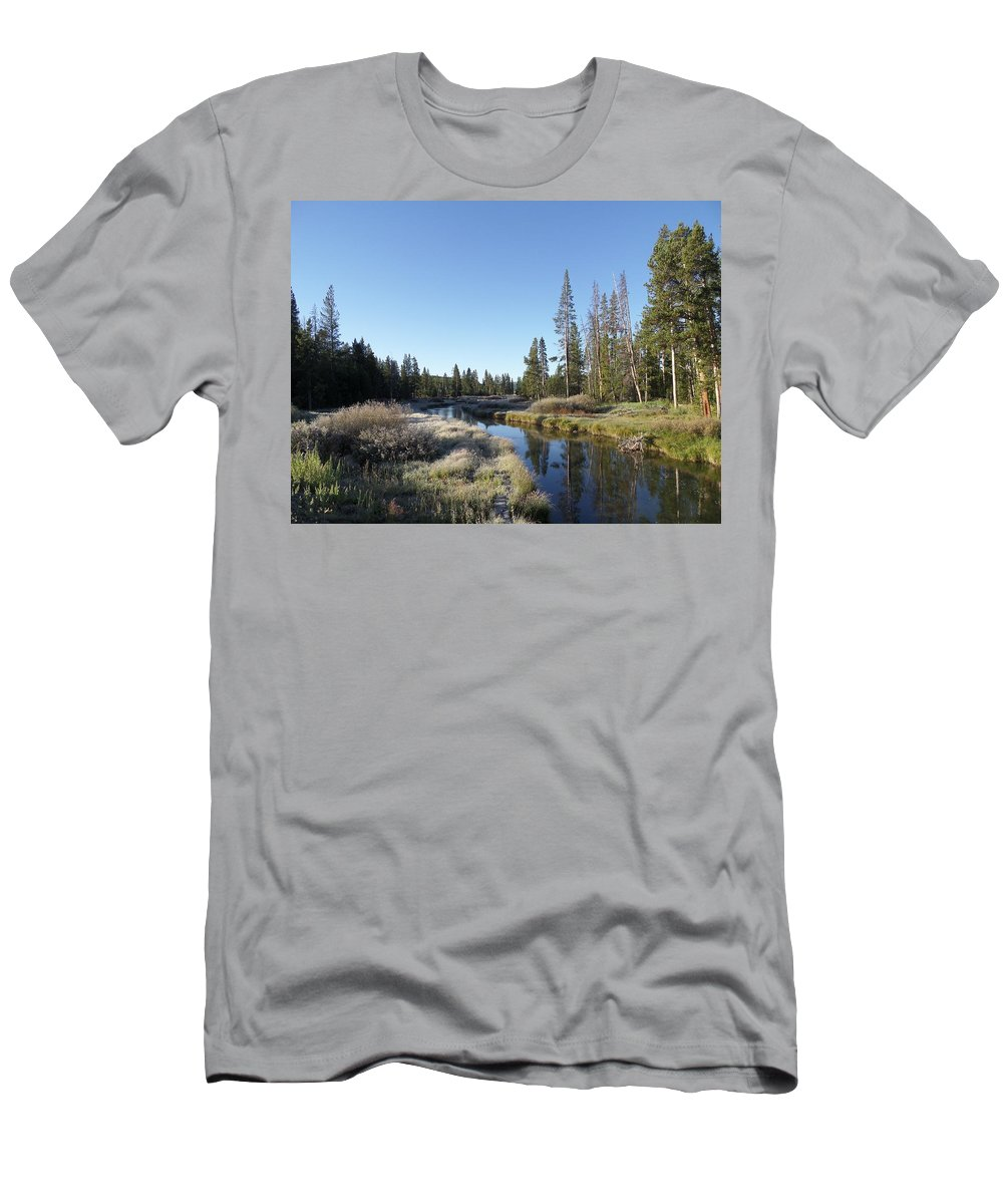 Blue Men's T-Shirt (Athletic Fit) featuring the photograph A Frosty Morning Along Obsidian Creek by Frank Madia