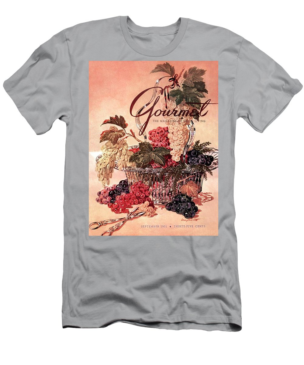 Illustration Men's T-Shirt (Athletic Fit) featuring the photograph A Gourmet Cover Of Grapes by Henry Stahlhut