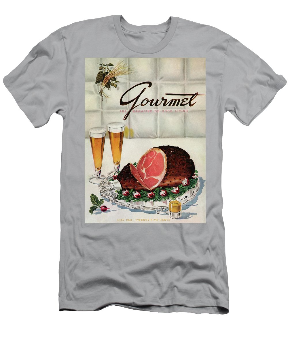 Illustration Men's T-Shirt (Athletic Fit) featuring the photograph A Gourmet Cover Of Ham by Henry Stahlhut