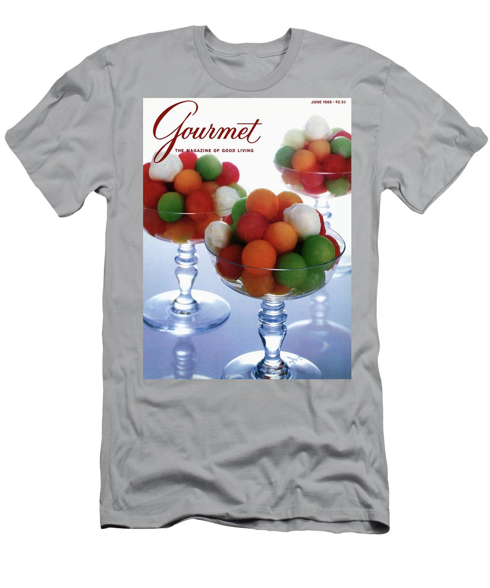 Food Men's T-Shirt (Athletic Fit) featuring the photograph A Gourmet Cover Of Melon Balls by Romulo Yanes