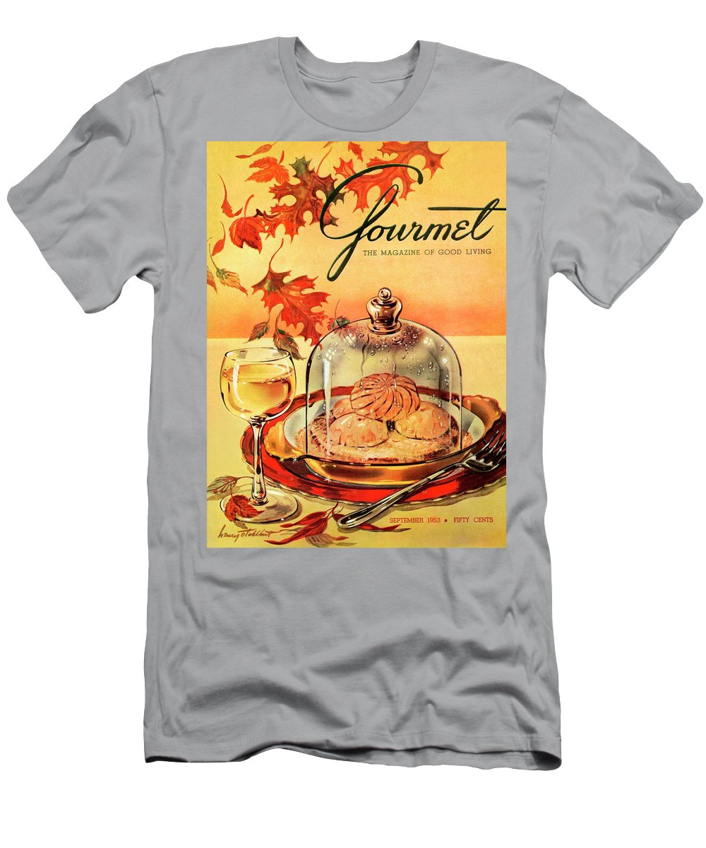 Illustration Men's T-Shirt (Athletic Fit) featuring the photograph A Gourmet Cover Of Mushrooms On Toast by Henry Stahlhut