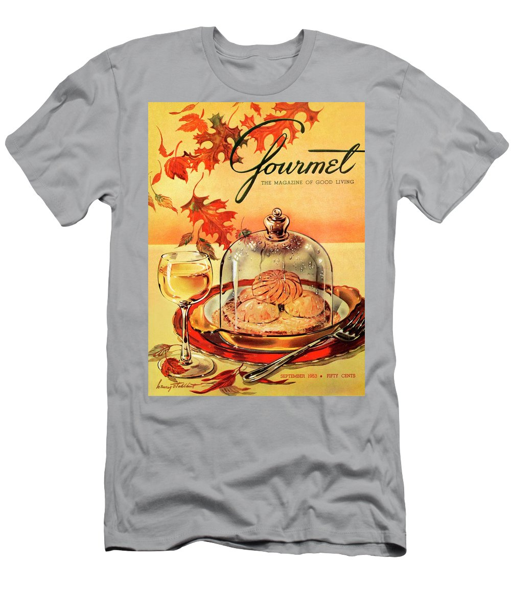Illustration T-Shirt featuring the photograph A Gourmet Cover Of Mushrooms On Toast by Henry Stahlhut