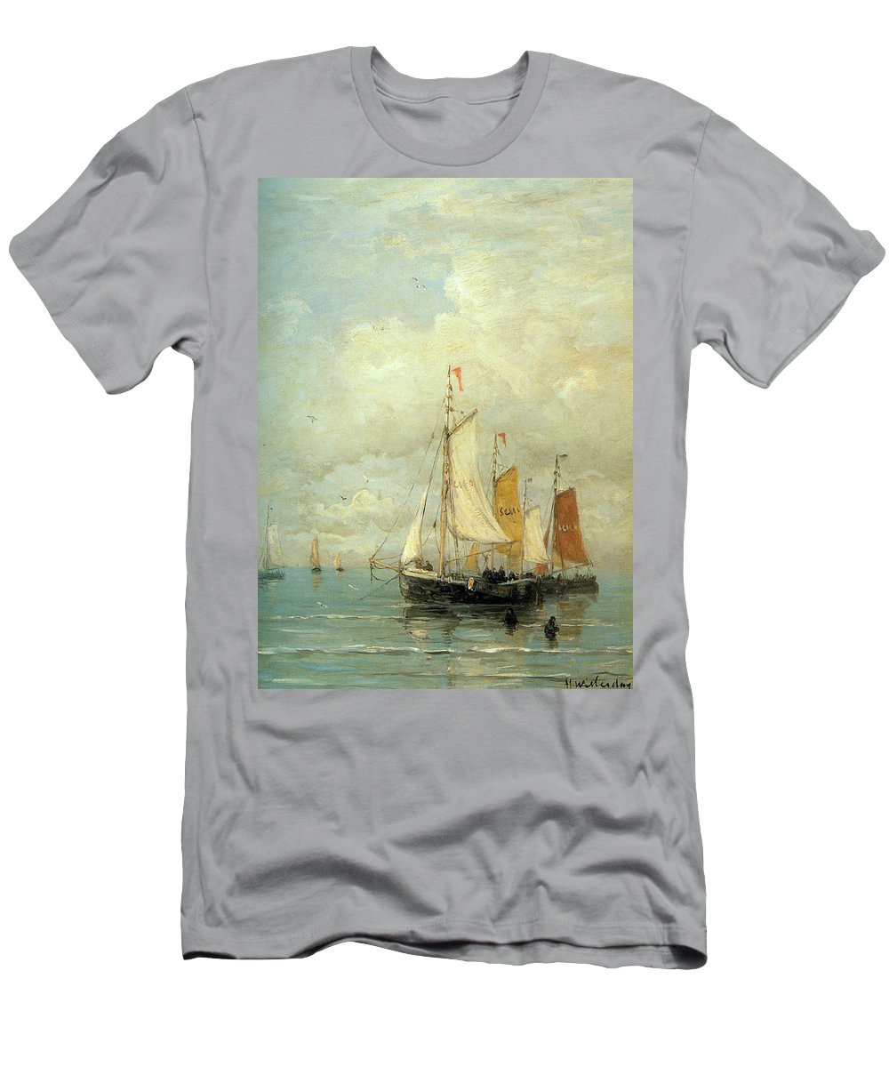 Hendrik Mesdag Willem Men's T-Shirt (Athletic Fit) featuring the digital art A Moored Fishing Fleet by Hendrik Mesdag Willem